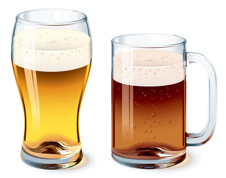 realism: Beer glass and beer mug isolated on white