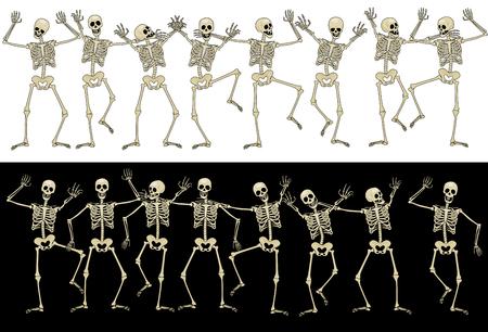 human skeleton: Sixteen fun skeletons.  Eps8. CMYK. Global colors. Gradients free.