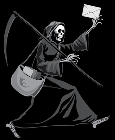 Grim Reaper delivering letter. Eps8. CMYK. Organized by layers. Gradients free. Global colors. Illustration