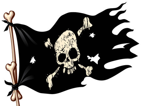 irritation: Waving flag with jolly Roger. Eps8. CMYK. Organized by layers. Global colors. Gradients used.