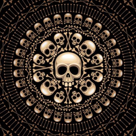 evil skull: Rosette consist of skulls and bones. Eps8. CMYK. Organized by layers.Gradients free. Illustration