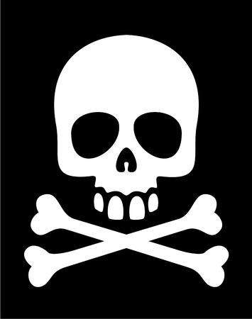 White skull and crossbones symbol on black background. Eps8.