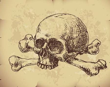 burning paper: Hand drawn skull and bones on old paper. Eps8. CMYK. Organized by layers. Global colors. Gradients used.
