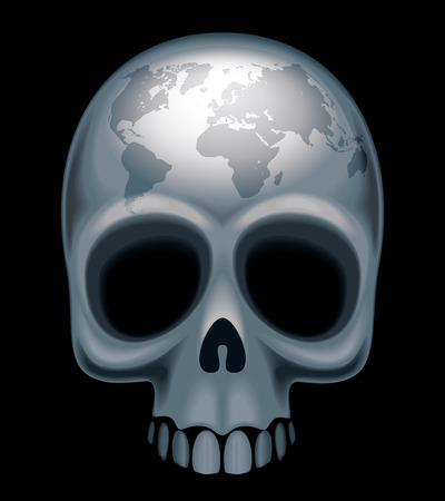 forehead: Skull with a world map on her forehead. Eps8. CMYK. Organized by layers. Global colors. Gradients used. Illustration