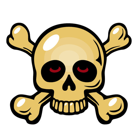 skull crossbones: Skull and crossbones symbol isolated on white background. Eps8. CMYK. Organized by layers. Global colors. Gradients free.