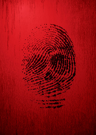 thumbprint: Vector thumbprint like a skull on red grunge background. Eps8. CMYK. Organized by layers. Global colors. Gradients used.