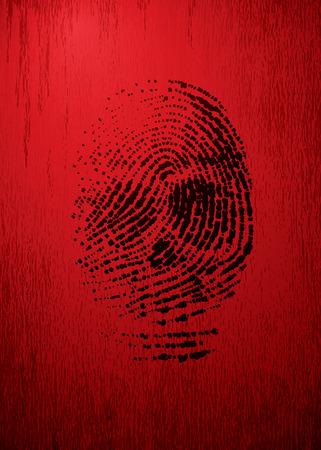 odcisk kciuka: Wektor palca jak czaszki na czerwonym tle grunge. Eps8. CMYK. Organizowany przez warstw. Global kolorów. Gradienty używane. Ilustracja