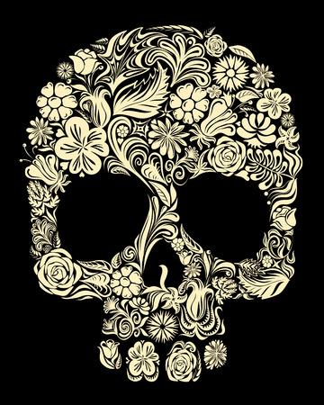 花の形の頭蓋骨。Eps8。CMYK。グローバル カラーです。無料のグラデーション。  イラスト・ベクター素材