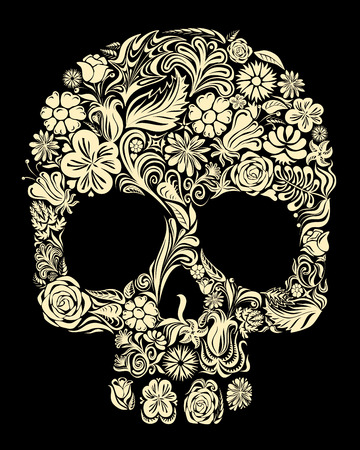 Skull of floral shapes. Eps8. CMYK. Global colors. Gradients free.