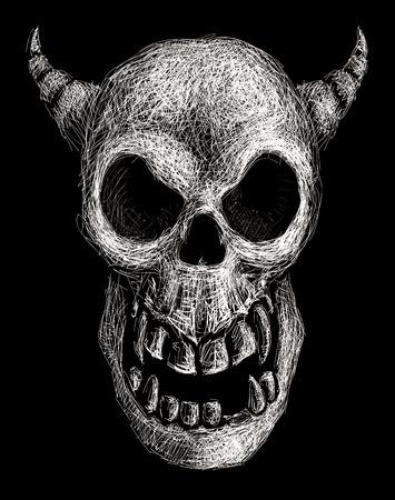 daemon: Hand drawn daemon skull. Eps8. Organized by layers. Gradients free.