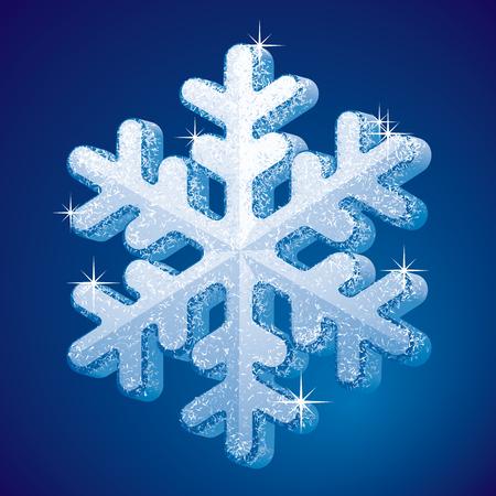 Closeup 3d-shape snowflake.