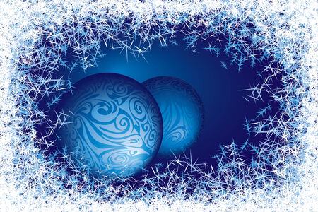 frosted: Blue frosted window with two baubles.