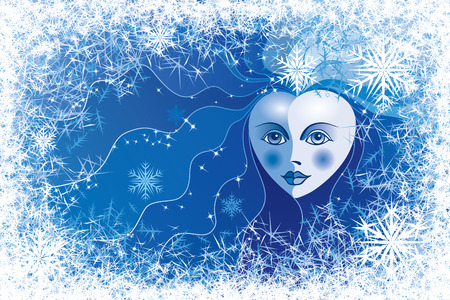 Snow queen looking into frosted window.  Vector