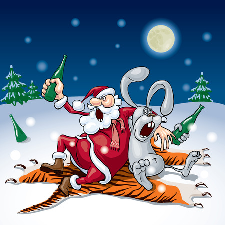 successors: Santa and the bunny drink sitting on a tiger skin.