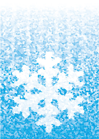 rime: Closeup snowflake on blue background.