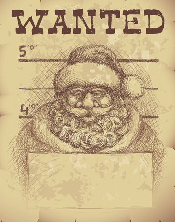 Wanted poster of Santa Claus.  Illustration