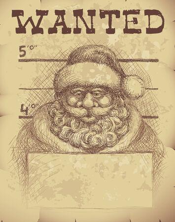 mug shot: Wanted poster of Santa Claus.  Illustration