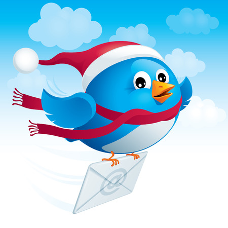 delivers: Flying blue bird in the hat santa delivers e-mail.