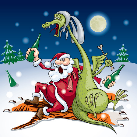 Santa and the dragon drink sitting on a tiger skin  Vector