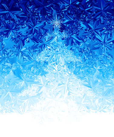 water frozen: Ice background with Christmas tree.