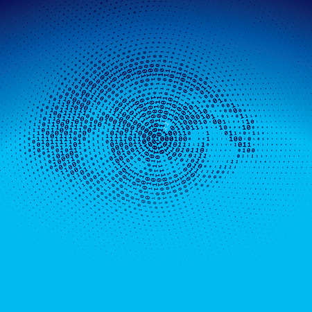 Eye drawn with binary codes.  Ilustrace