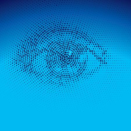 blue eye: Eye drawn with binary codes.  Illustration