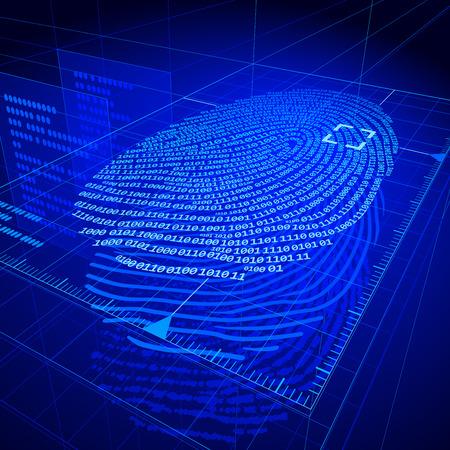 medical scanner: Digital fingerprint identification system.  Illustration