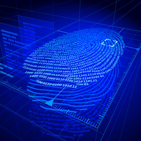 dactylogram: Digital fingerprint identification system.  Illustration