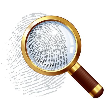 Fingerprint and magnifying glass. Vector