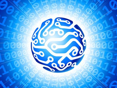 Blue circuit globe.  Vector