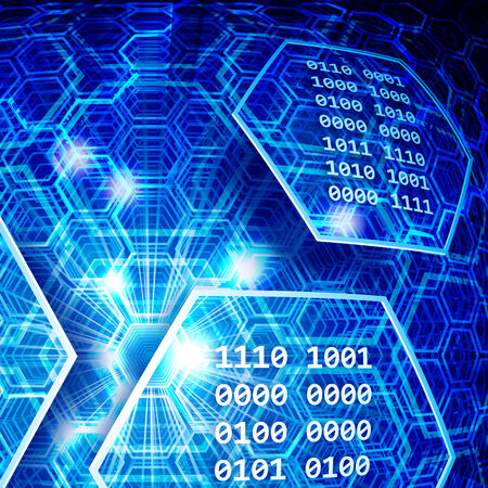 software code: Abstract blue background with hexagons