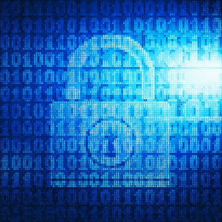 bytes: Lock consist of binary code.  Illustration
