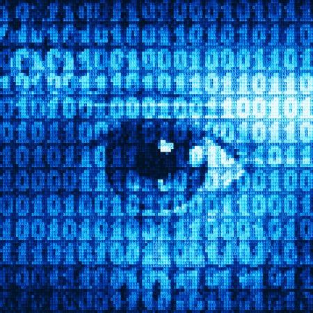 sensory perception: Eye drawn with binary codes.  Illustration