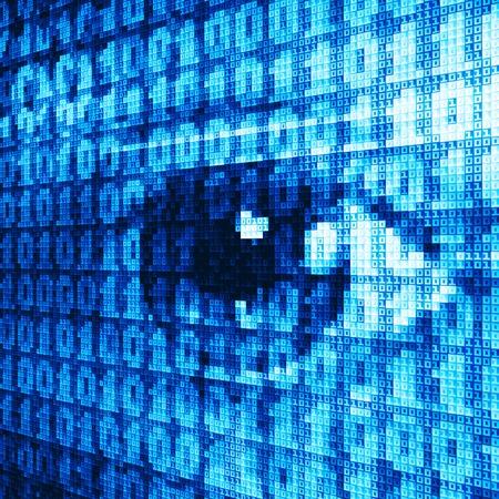 eyesight: Eye drawn with binary codes.