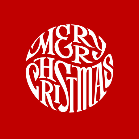 inscribed: Hand drawn phrase Merry Christmas inscribed in a circle.