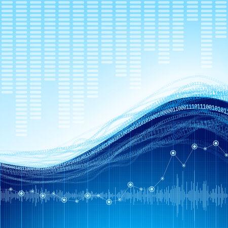 oscilloscope: Blue abstract techno background.