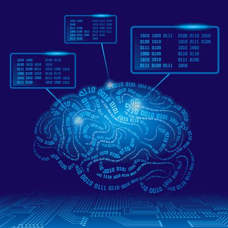 Brain getekend met binaire codes. Eps8. CMYK. Georganiseerd door lagen. Global kleuren. Gradiënten. Stock Illustratie