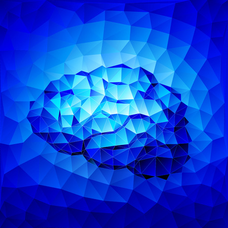 artificial intelligence: Blue brain consist of triangles. Eps8. RGB. Organized by layers. Gradients used.