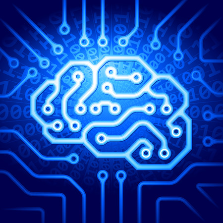 informatics: Circuit board with a brain shape. Eps8. RGB. Organized by layers. Global colors. Gradients used.