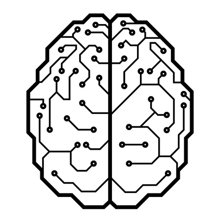 Circuit board with a brain shape. Eps8. CMYK. Organized by layers. Global color. Gradients free. Illustration