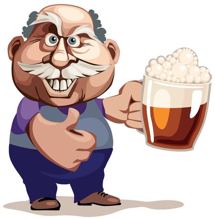 Senior man with glass of beer. Eps8 CMYK Organized by layers Gradients free
