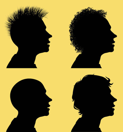 punk hair: Profile silhouettes of men and 3 different hair styles. Eps8 CMYK Organized by layers Gradients free Illustration