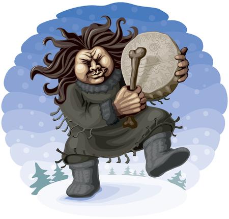 chieftain: Sciamano del Nord eseguire la danza rituale con tamburello. Vettoriali