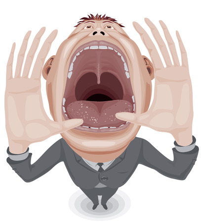 Crying man with wide open mouth.