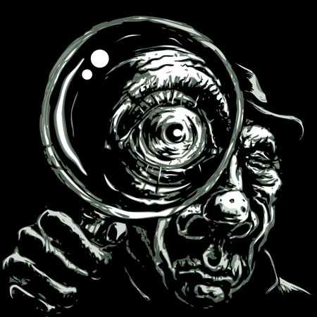 wrinkled face: Detective holding magnifying glass up to eye.