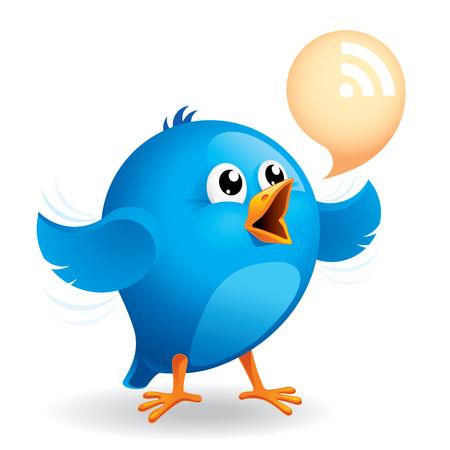 Blue bird with RSS talk bubble. Ilustrace