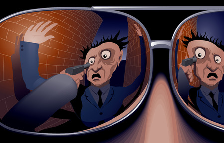The victim and the hand with a gun in mirrored sunglasses thief. Vector