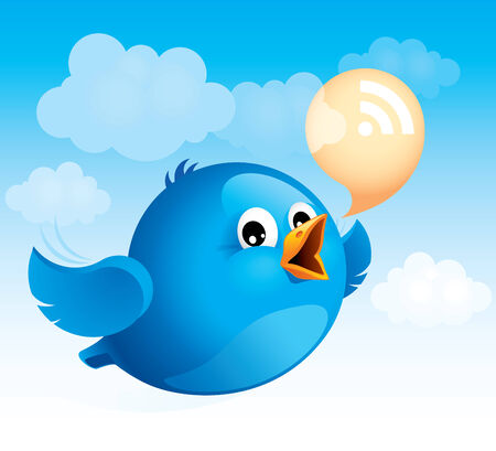 Flying blue bird with RSS talk bubble. Vector