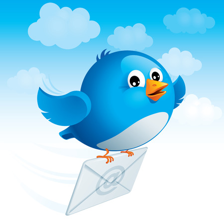 Flying blue bird delivers e-mail. Vector
