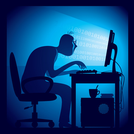 A hacker in a dark room sitting in front of a computer screen. Illustration